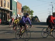 Cyclists Through Town