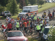 Riders gather for the start.